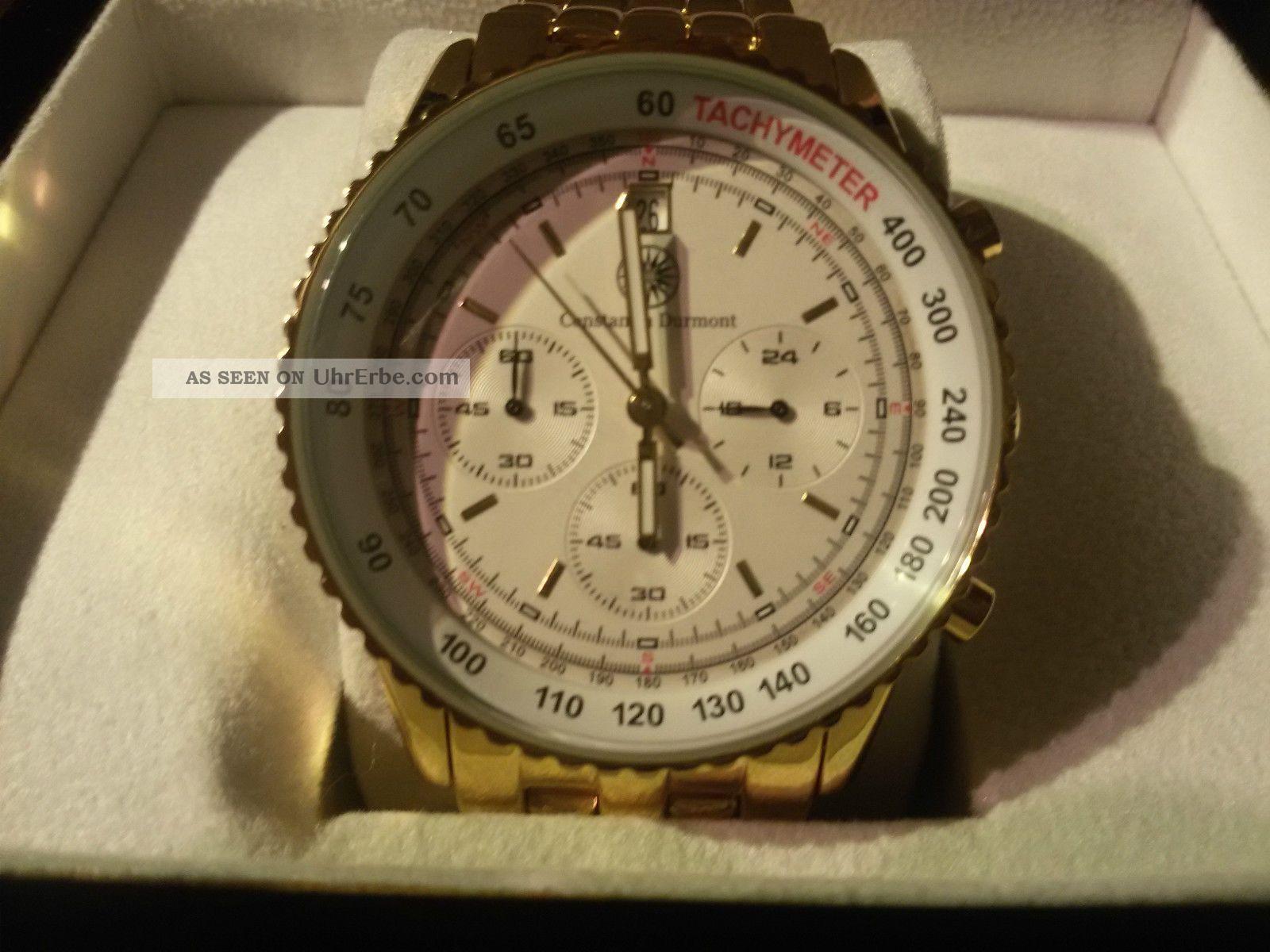 Constantin Durmont Admiral Herren Cronograph In Edelstahl Vergoldet Armbanduhren Bild