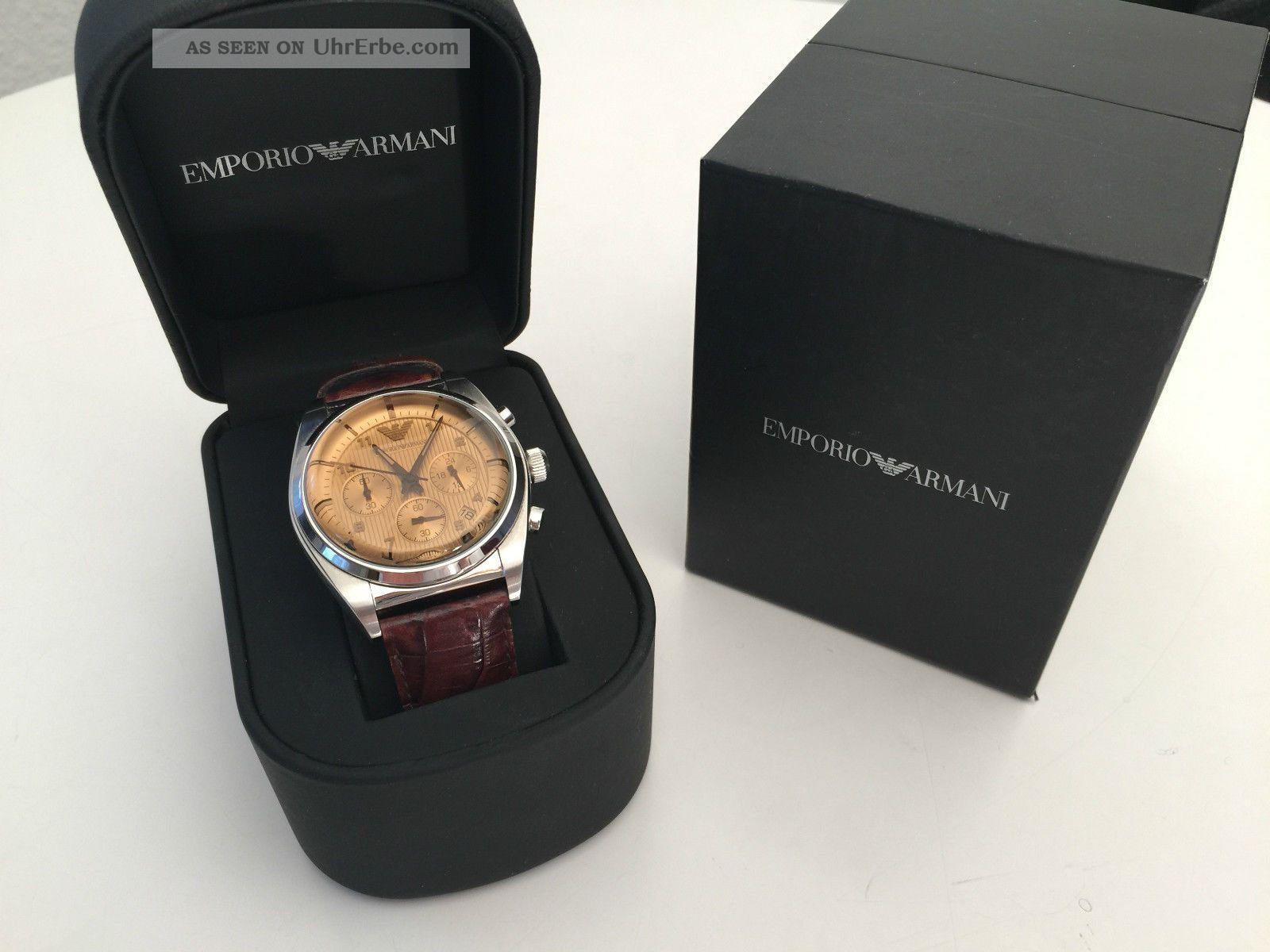 Emporio Armani Ar0395 Herrenuhr / Chronograph / Lederarmband Armbanduhren Bild