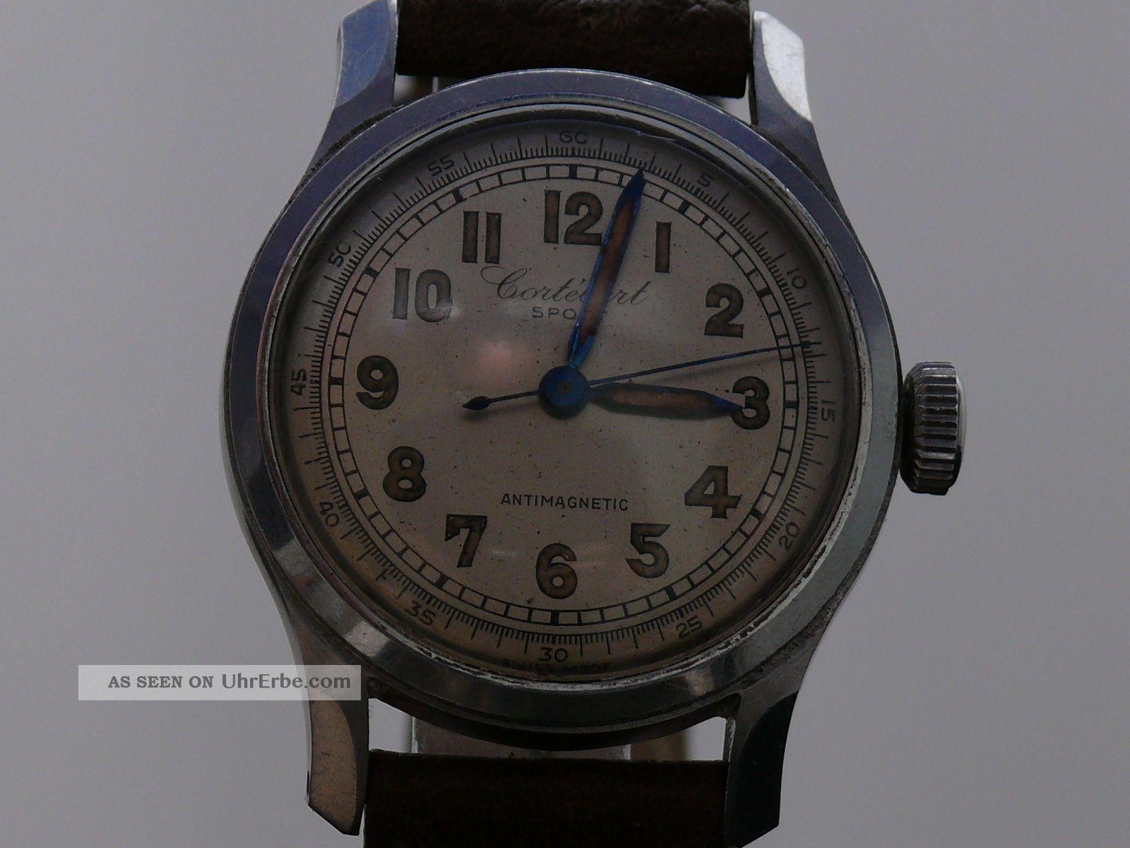 Cortebert Sport Military Herrenuhr 40er Jahre Mit Originalholzbox Armbanduhren Bild